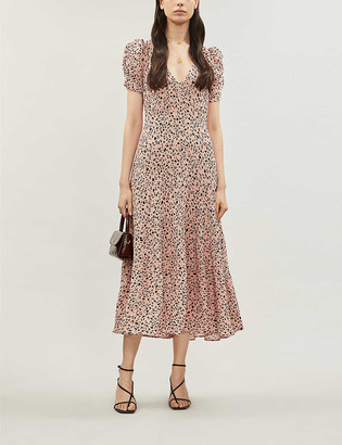 Reformation Cosa leopard-print crepe dress