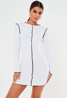 Missguided White Contrast Lettuce Hem Mini Dress