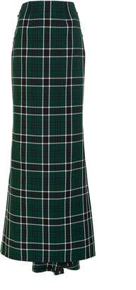 Rosie Assoulin Tie-Detailed Plaid Crepe Maxi Skirt