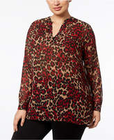 Anne Klein Plus Size Animal-Print Split-Neck Tunic