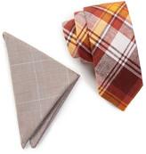 Original Penguin Ross Plaid Tie & Pocket Square Set