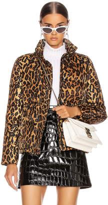 Miu Miu Leopard Puffer Jacket in Khaki | FWRD