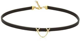 Diamond Eyes Leather Choker