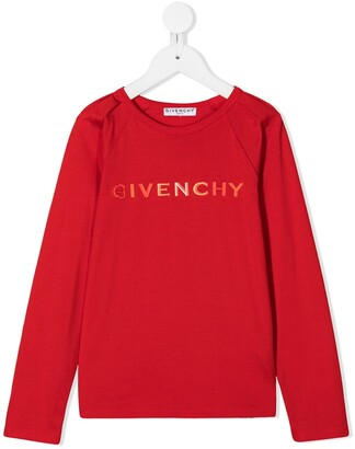 Givenchy Kids logo applique long-sleeve T-shirt