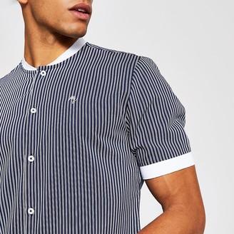 River Island Maison Riviera navy stripe baseball shirt