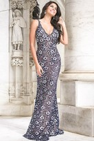 Jovani V-neck Long Lace Prom Gown 26533
