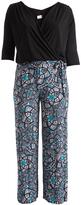 Glam Black & Blue Abstract Surplice Jumpsuit - Plus
