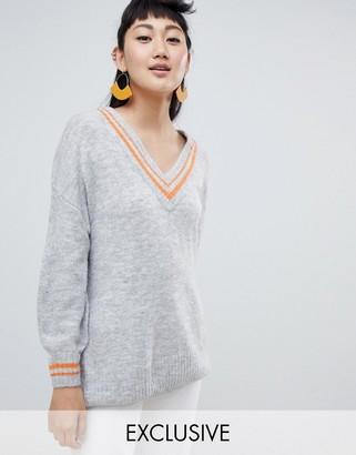 Monki deep v neck sweater in gray