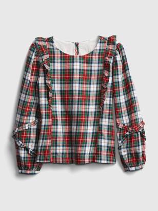 Gap Kids Ruffle Plaid Shirt