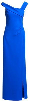 Teri Jon By Rickie Freeman Asymmetric Off-The-Shoulder Gown