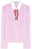 Prada Embellished striped cotton shirt