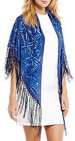Lauren Ralph Lauren Lupita Fringed Woodblock Silk Triangle Scarf