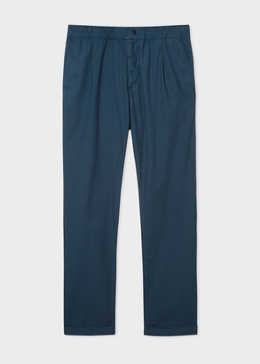 Paul Smith Men's Navy Lightweight Cotton Pants With Elasticated Waist