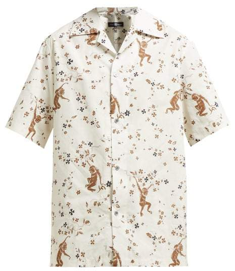 Edward Crutchley Monkey-print Short-sleeved Cotton Shirt - Womens - Cream