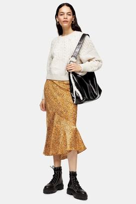 Topshop Womens Tall Mustard Leopard Satin Flounce Midiskirt - Mustard