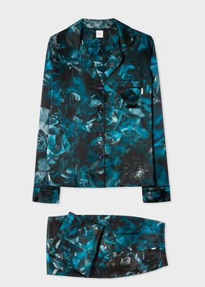 Paul Smith Women's Blue 'Floral Photo' Print Silk Pyjamas