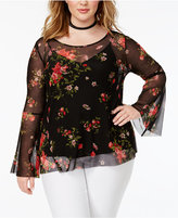 Soprano Trendy Plus Size Sheer Peasant Top