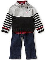 Nautica Baby Boys 12-24 Months Color Block/Stripe Sweater, Checked Woven Shirt, & Denim Jeans Set
