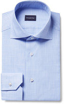 Ermenegildo Zegna Blue Slim-Fit Cutaway-Collar End-On-End Cotton Shirt