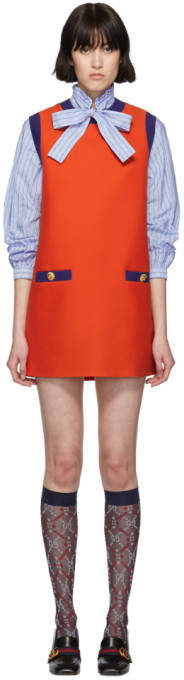 Gucci Red and Blue Bicolor Mini Dress