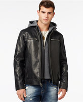 GUESS Faux-Leather Moto Jacket with Removable Hood