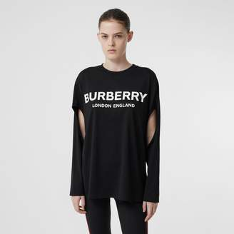 Burberry ong-seeve ogo Print Cotton Oversized Top
