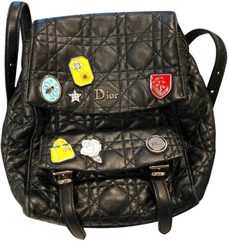 Christian Dior Black Leather Backpacks
