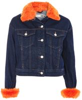 Topshop MOTO Orange Faux Fur Trim Denim Jacket