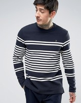 Farah Branson Long Sleeve Top Rib Placement Stripe in Navy