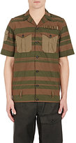Kolor MEN'S COMBO SHORT-SLEEVE SHIRT-DARK GREEN SIZE 4