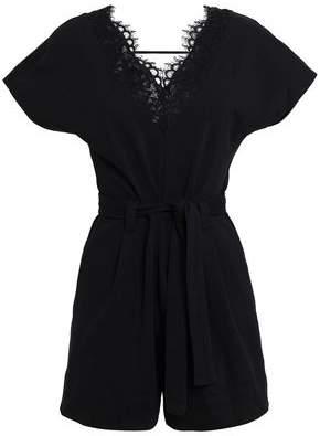 Claudie Pierlot Teonita Corded Lace-trimmed Cotton Playsuit