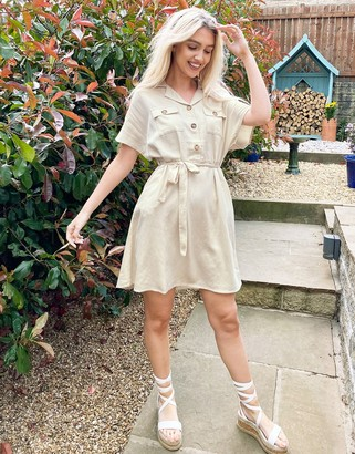 Vila utility dress with contrast buttons and tie waist in cream