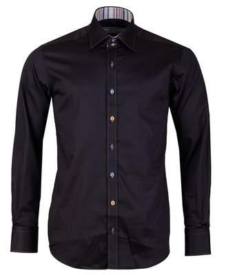 Claudio Lugli Contrast Trim Detail Shirt Colour: BLACK, Size: MEDIUM