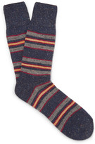 Anonymous Ism - Striped Space-dyed Mélange Stretch-knit Socks