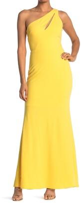 Bebe Scuba Crepe Cutout One Shoulder Dress