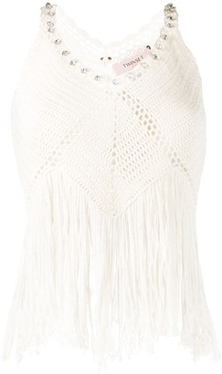 Twin-Set Woven Style Fringed Vest Top