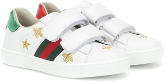 Gucci Kids Ace embroidered leather sneakers