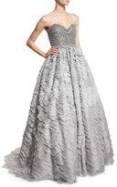 Alexandra Vidal Strapless Sweetheart Taffeta Ball Gown, Gray Blue