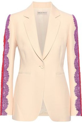 Emilio Pucci Lace-trimmed Wool And Silk-blend Blazer