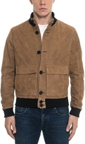 Forzieri Brown Suede Men's Bomber Jacket