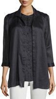 Lafayette 148 New York Rochelle Layered Trompe l'Oeil Top, Black