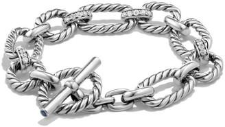 David Yurman Cushion Link Chain Bracelet with Pave Diamonds