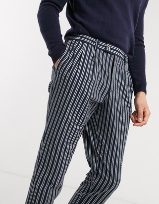 Gianni Feraud striped loose fit elasticated waistband trouser