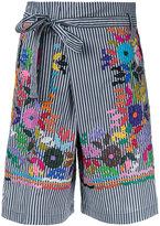 P.A.R.O.S.H. flower-embroidered striped shorts - women - Cotton/Polyamide/Spandex/Elastane - XS