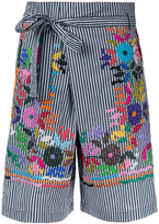 P.A.R.O.S.H. flower-embroidered striped shorts