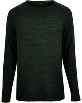 River Island MensDark green knitted crew neck sweater