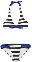Juicy Couture Sailor Babe Halter Top w/ Side Tie Classic Bottom (Regal Multi) - Apparel