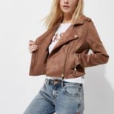 River Island Womens Petite blush pink faux suede biker jacket
