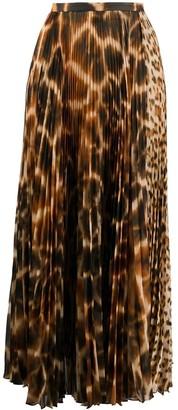 Roberto Cavalli Animal Print Long Pleated Skirt