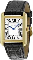 Cartier Women's W5200002 Tank Solo Black Leather Strap Watch